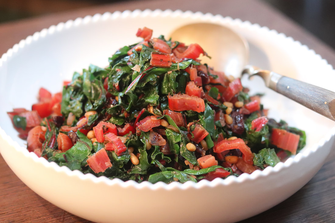 Savory Swiss Chard with Pine Nuts and Cranberries using Healthy on You Thyme in Tuscany